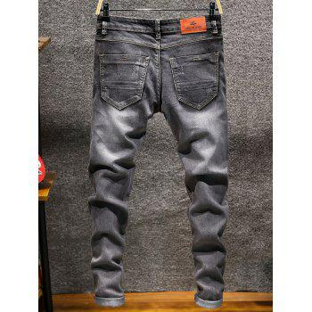 Casual Slim Fit Straight Leg Jeans - GRAY 36