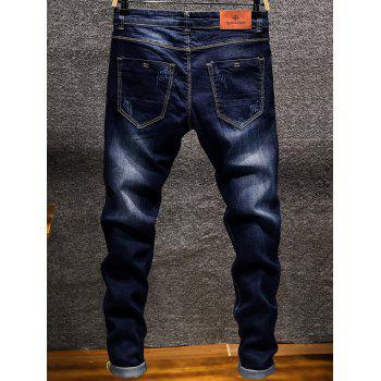 Casual Slim Fit Straight Leg Jeans - DEEP BLUE 36