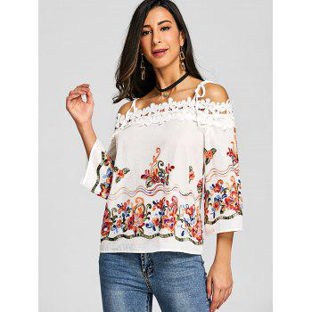 Embroidery Applique Open Shoulder Blouse - OFF WHITE L
