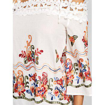 Embroidery Applique Open Shoulder Blouse - OFF WHITE 2XL