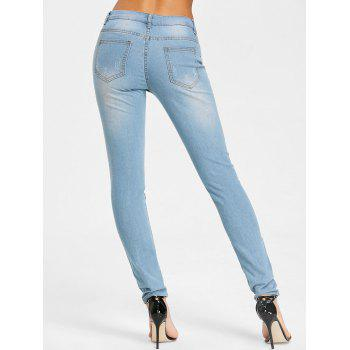 High Rise Embroidery Destroyed Jeans - LIGHT BLUE 2XL