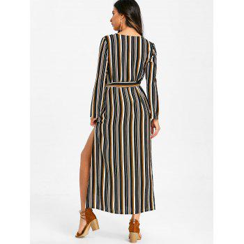 Long Sleeve Casual Striped Dress - BLACK L