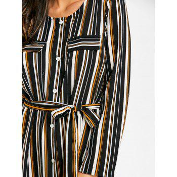 Long Sleeve Casual Striped Dress - BLACK XL