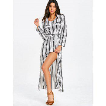 Long Sleeve Casual Striped Dress - WHITE 2XL