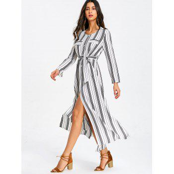 Long Sleeve Casual Striped Dress - WHITE L
