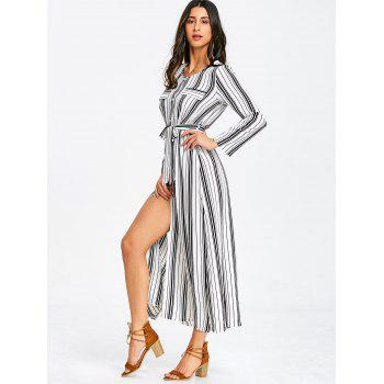 Long Sleeve Casual Striped Dress - WHITE M