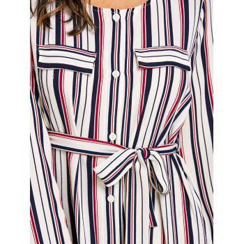 Long Sleeve Casual Striped Dress - RED 2XL
