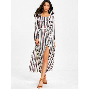 Long Sleeve Casual Striped Dress - RED L