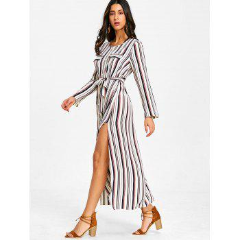 Long Sleeve Casual Striped Dress - RED M