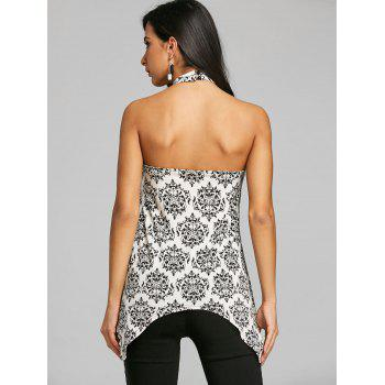 Open Back Graphic Caged Tank Top - WHITE L