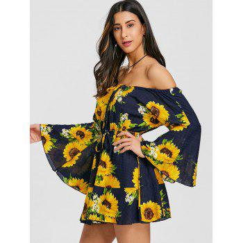 Print Off The Shoulder Swing Dress - YELLOW M