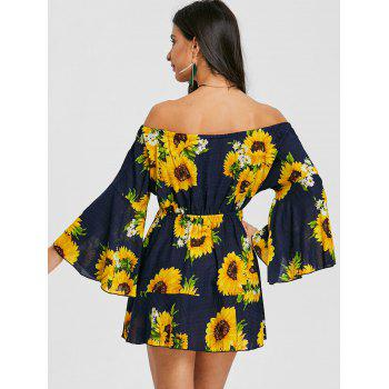 Print Off The Shoulder Swing Dress - YELLOW L