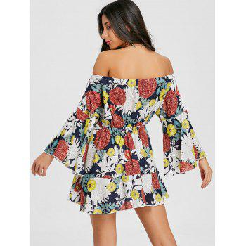 Print Off The Shoulder Swing Dress - COLORMIX XL