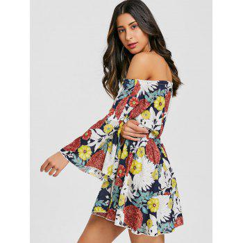 Print Off The Shoulder Swing Dress - COLORMIX M