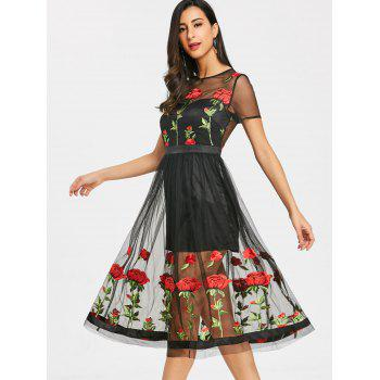 Embroidery Floral Sheer Tulle Tea Length Dress - BLACK L