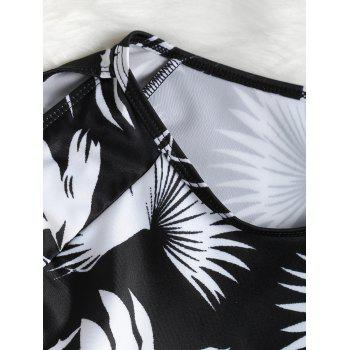 Long Sleeves Printed Surf Open Shoulder Swimsuit - BLACK L