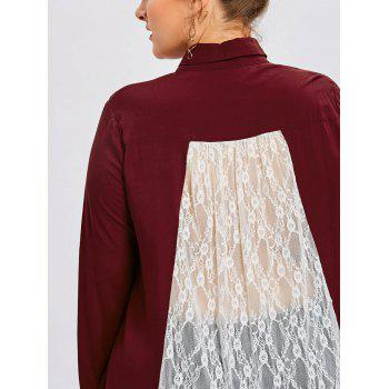 Plus Size Lace Trim Sheer Handkerchief Shirt - WINE RED 5XL