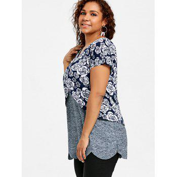 Plus Size Floral Overlay Scalloped T-shirt - COLORMIX 5XL