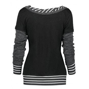 Long Sleeve Stripe Trim Panel T-shirt - BLACK XL