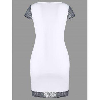 Cap Sleeve Bodycon Dress with Sequins and Pocket - WHITE M