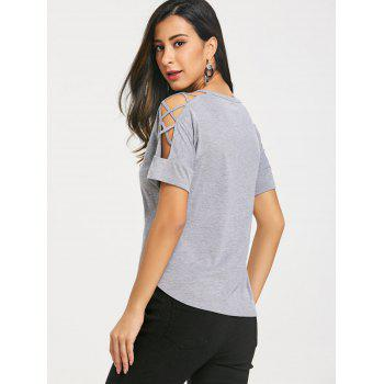 Lattice Cutting Shoulder Short Sleeve T-shirt - COLORMIX L