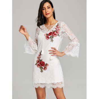 Embroidery Bell Sleeve Lace Dress with Cami Dress - WHITE L