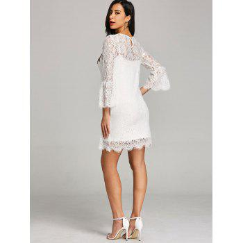 Embroidery Bell Sleeve Lace Dress with Cami Dress - WHITE XL