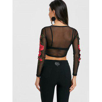 Sheer Embroidered Long Sleeve Crop Top - BLACK S