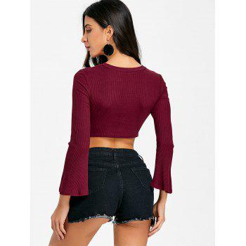 Flare Sleeve Cropped Cut Out Rib Top - WINE RED M