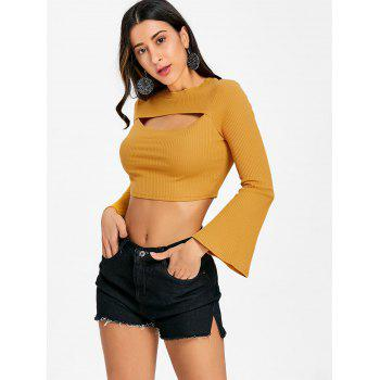 Flare Sleeve Cropped Cut Out Rib Top - MUSTARD XL