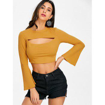 Flare Sleeve Cropped Cut Out Rib Top - MUSTARD L