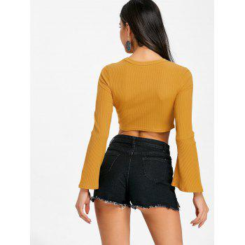 Manches évasées Cropped Cut Out Rib Top - [