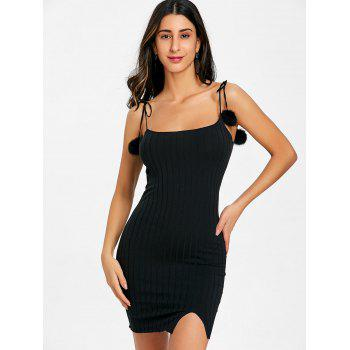 Spaghetti Strap Pom Pom Rib Mini Dress - BLACK S