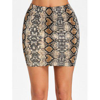 Snake Pattern Mini Bodycon Skirt - SNAKE PRINT L