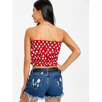 Polka Dot Strapless Crop Top - RED S