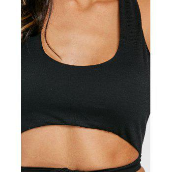 Tie Up Backless Halter Crop Top - BLACK S
