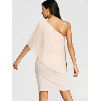 One Shoulder Overlay Mini Sheath Dress - SHALLOW PINK 2XL