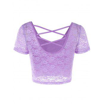 Criss Cross Cut Out Lace Crop Top - LIGHT PURPLE L