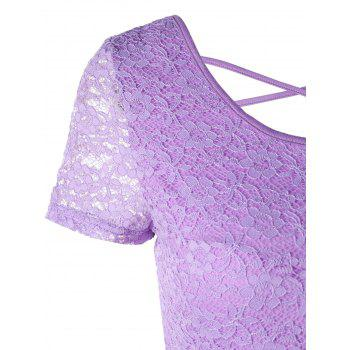 Criss Cross Cut Out Lace Crop Top - LIGHT PURPLE XL