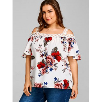 Plus Size Floral Print Half Sleeve Blouse - WHITE 2XL