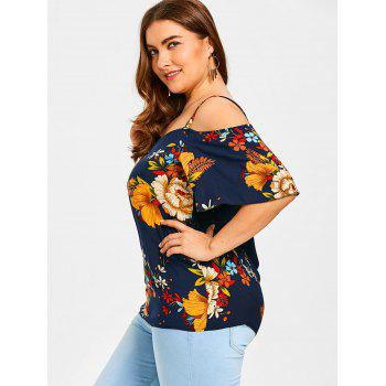 Cold Shoulder Plus Size Floral Printed Blouse - COLORMIX 2XL