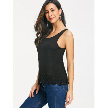 Crochet Lace Hem Tank Top - BLACK M