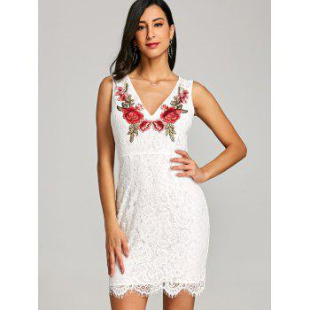 Sleeveless V Neck Lace Embroidery Dress - WHITE L