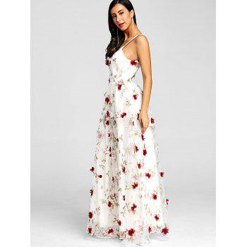 Stereo Floral Maxi Strappy Dress - WHITE 2XL