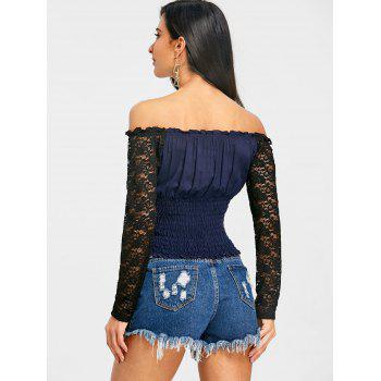 Off The Shoulder Sheer Lace Panel Smocked Blouse - PURPLISH BLUE XL