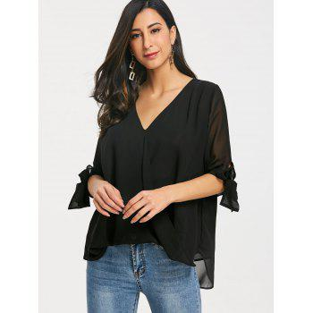 V Neck Chiffon Surplice Blouse - BLACK M