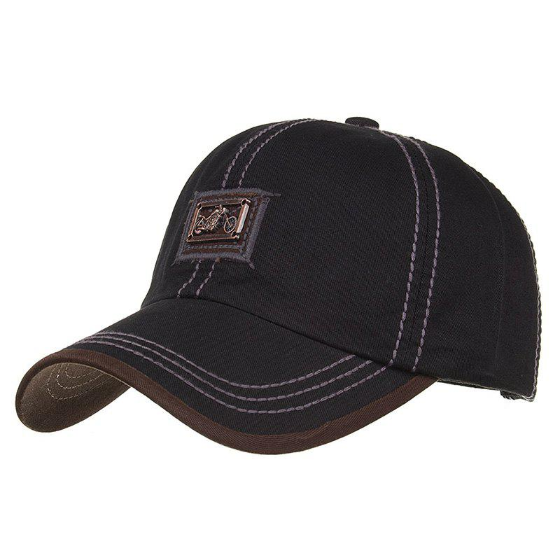 Motorcycle Metal Bar Embellished Snapback Hat - BLACK