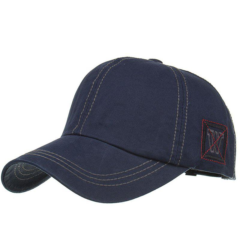 Unique W Embroidery Adjustable Sunscreen Hat - CADETBLUE