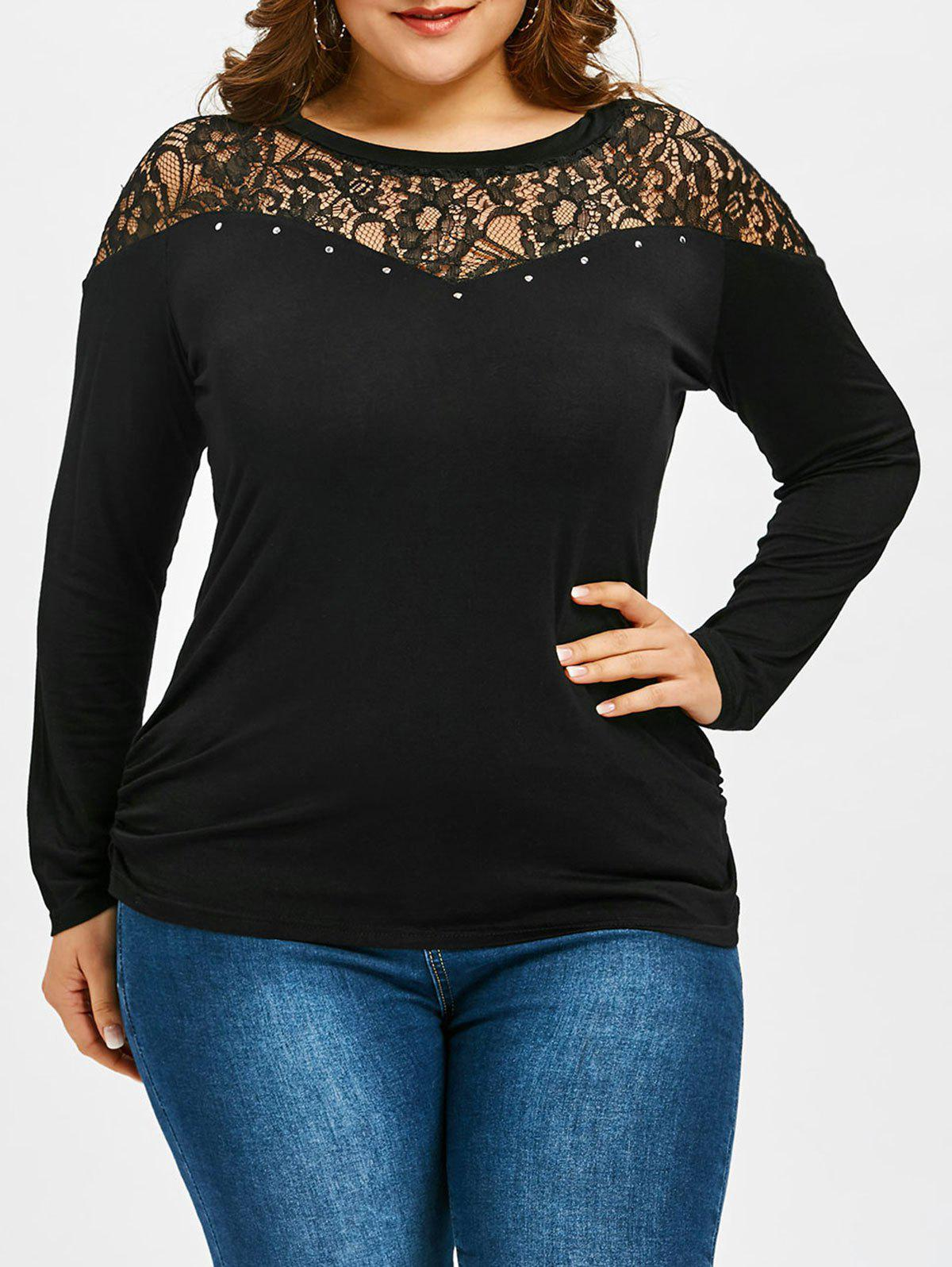 Flower Lace Panel Plus Size Long Sleeve T-shirt redfox футболка flower t 42 4300 желтый