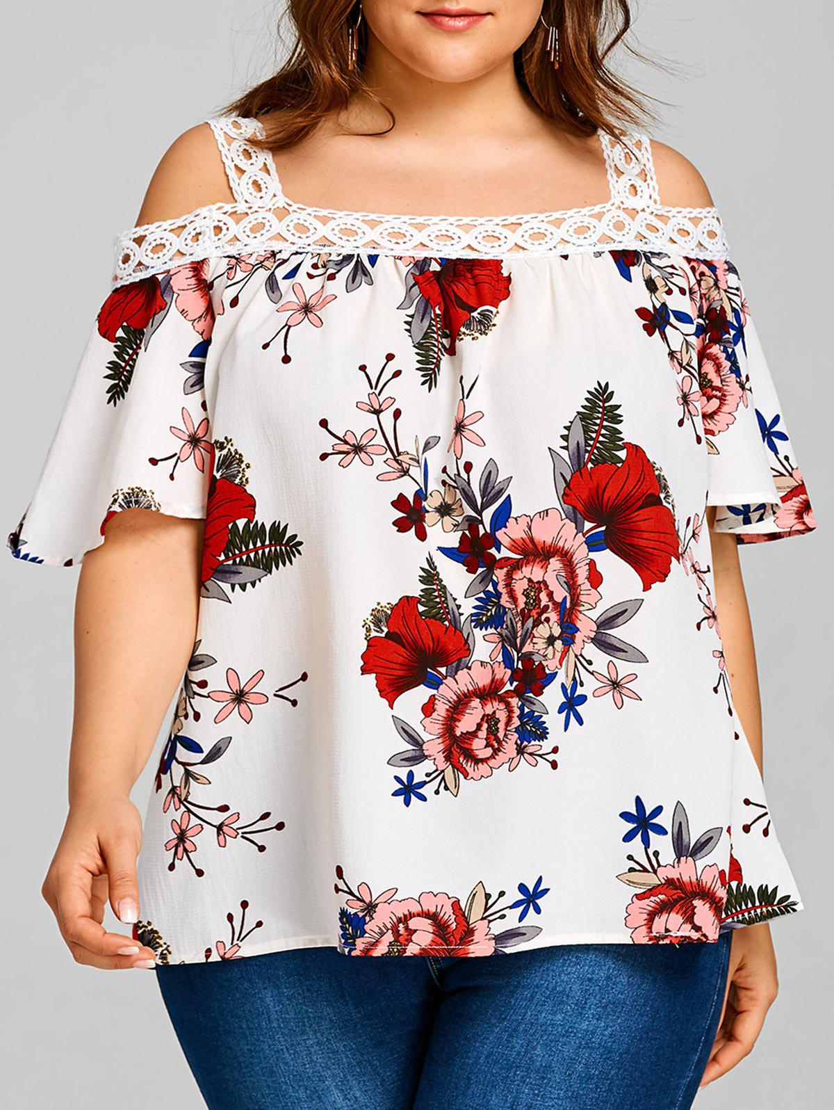 Plus Size Floral Print Half Sleeve Blouse - WHITE 3XL